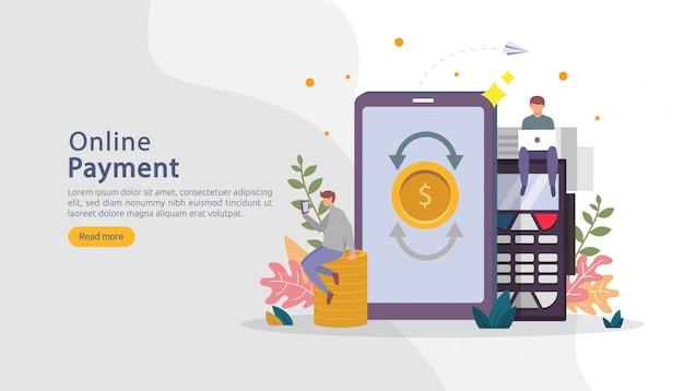 電子商取引市場の小さな人々の性格を持つオンラインイラストをショッピングします。モバイル決済または送金