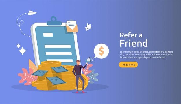 アフィリエイトマーケティングのコンセプト。友達戦略を参照してください。人々は紹介のビジネスパートナーシップを共有するメガホンを叫び、お金を稼ぎます。