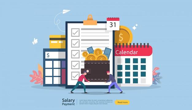 給与収入の概念。給与支払年次ボーナス。紙、電卓、人物のキャラクターによる支払い。