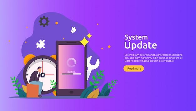 オペレーションシステムの更新の進行状況の概念。