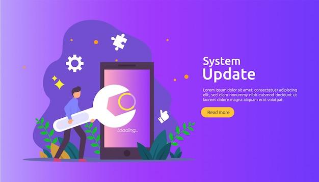 オペレーションシステムの更新の進行状況の概念。データ同期プロセスとインストールプログラム。私