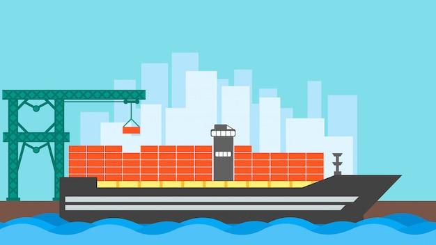 Контейнер для грузовых судов. логистика морского океана. доставка морских перевозок
