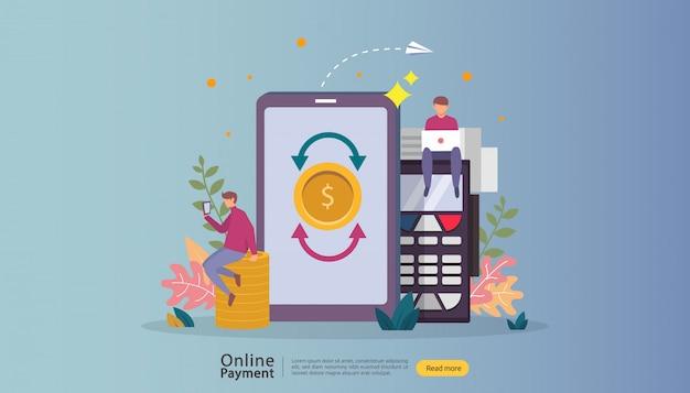電子商取引市場の小さな人々の性格を持つオンラインイラストをショッピングします。