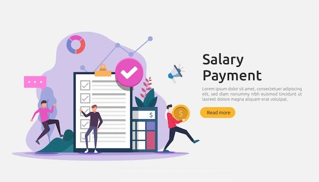 Концепция заработной платы дохода. выплата зарплаты годовой бонус. выплата с бумагой, калькулятором и людьми характера.
