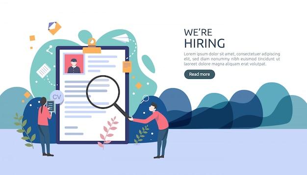 小さな人のキャラクターと仕事の雇用とオンライン採用のコンセプト。再開プロセスを選択します。