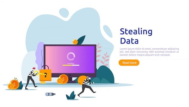 Концепция интернет-безопасности с крошечным характером людей. фишинговая атака паролем. кража личных данных. шаблон веб-страницы, баннер, презентация, социальные сети и печатные сми. иллюстрация