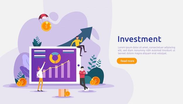 Бизнес инвестиционная концепция. доллар куча монет, люди персонаж, денежный объект. графическая диаграмма увеличения. финансовый рост растет до успеха. плоский шаблон иллюстрации целевой страницы