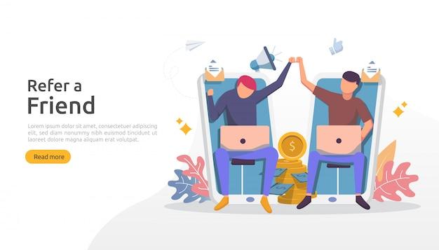 Приведи стратегию друга и концепцию аффилированного маркетинга. люди делятся характером, делятся реферальными деловыми партнерами и зарабатывают деньги шаблон для веб-целевой страницы, баннера, плаката, печатных сми