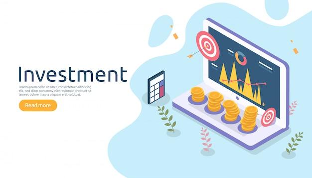 Концепция управления или возврата инвестиций. онлайн-бизнес стратегический для финансового анализа.