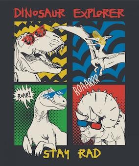 手描きの恐竜のイラスト