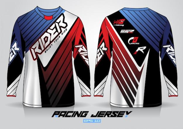 Шаблон дизайна футболки с длинным рукавом, равномерный вид спереди и сзади