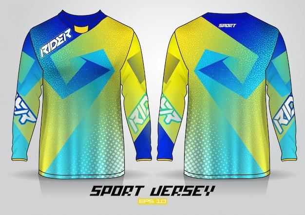 Шаблон дизайна футболки с длинным рукавом, равномерный вид спереди и сзади.