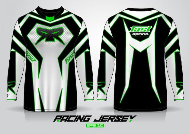 Дизайн футболки с длинным рукавом. автогонки униформа спереди и сзади.