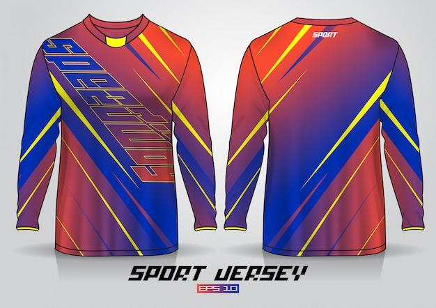 Шаблон дизайна футболки с длинным рукавом, равномерный вид спереди и сзади. вектор