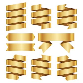 ゴールドバナーリボンベクトルを設定