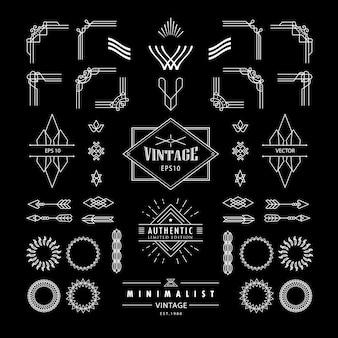 フレームコーナーバッジデザイン要素とレトロな線形の細いビンテージラインの幾何学的なアールデコ形状アートのセット