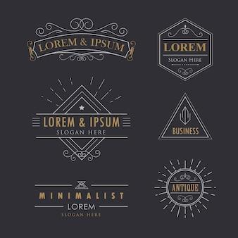 Логотип набор старинных вектор расцветает каллиграфия элегантный битник