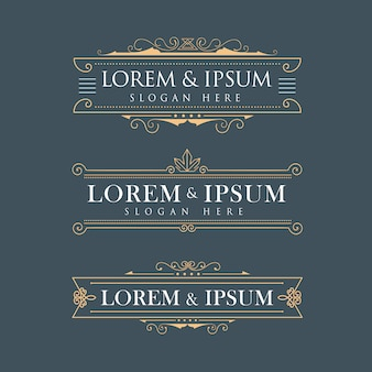 Роскошные короны рамы векторные логотипы каллиграфия расцветает элегантный т