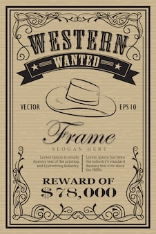 Западный винтажная рамка этикетки хотел ретро рисованной векторной иллюстрации