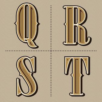 Западный алфавит буквы старинный дизайн вектор