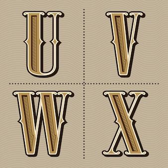 西部のアルファベット文字ビンテージデザインのベクトル