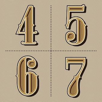 西部のアルファベット文字ビンテージ番号デザインベクトル