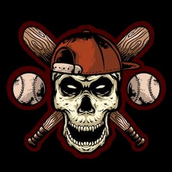 Череп бейсбол с палкой и мячом дизайн логотипа талисман