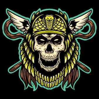 ゴールドヘルメットマスコットデザインロゴのあるスカルクレオパトラ