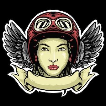 ヘルメットと翼のロゴのビンテージデザインの女性バイカー