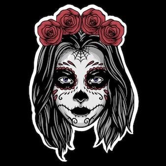 Сахарный череп девушка талисман дизайн логотипа