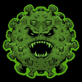 Вирус чудовище страшное лицо ковидная корона