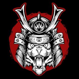 赤い背景のロゴのマスコットとタイガーヘッド侍