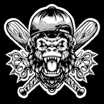 帽子とナックルのマスコットデザインのゴリラヘッドギャング