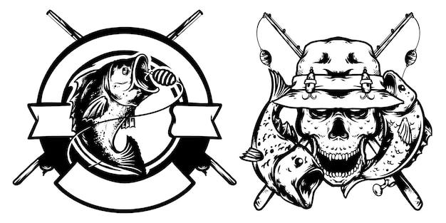 Рыболовный череп и рыбалка дизайн логотипа