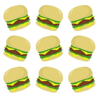ハンバーガーファーストフードパターンシームレス