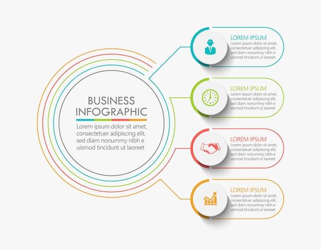 ビジネスデータタイムラインインフォグラフィックステップアイコン