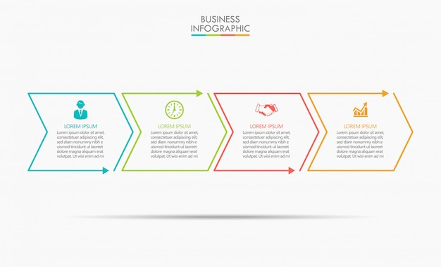 ビジネスデータの視覚化タイムラインのインフォグラフィック