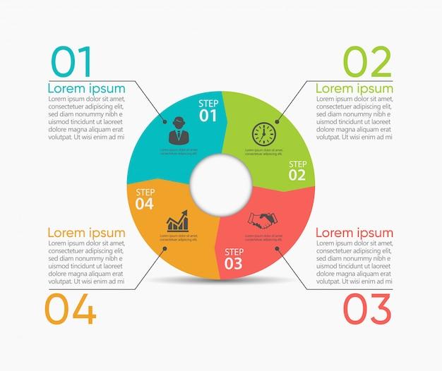 ビジネスサークル。抽象的なテンプレート用に設計されたタイムラインインフォグラフィックアイコン