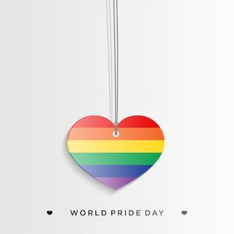Лгбт гордость с красочным сердцем в стиле бумажного ремесла
