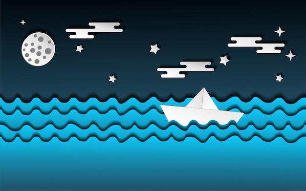 海のイラストの上の紙の船