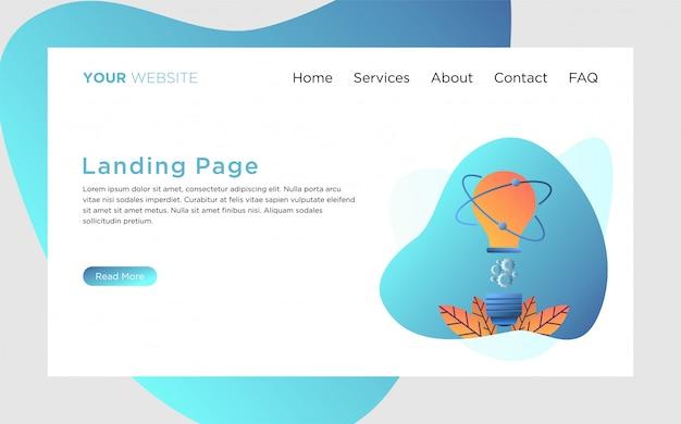 Шаблон целевой страницы с иллюстрацией творческого процесса