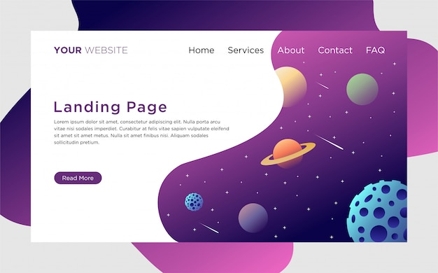 Шаблон целевой страницы с иллюстрацией космического пространства