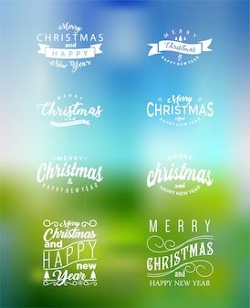 メリークリスマスとハッピーニューイヤータイポグラフィーセット