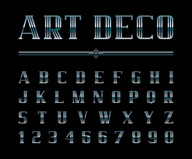 アールデコのフォントとアルファベットのベクトル