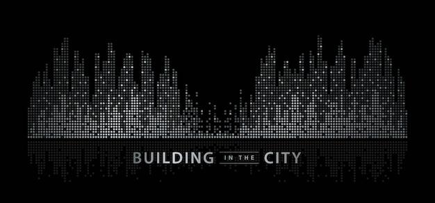 抽象的な都市、イコライザーの背景。透明な街並み、ドットビルディング