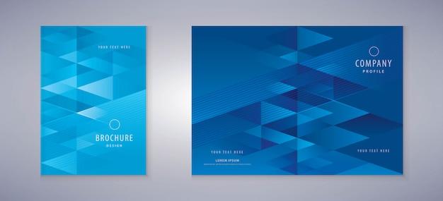 カバーブックデザイン、トライアングルの背景テンプレートのパンフレット
