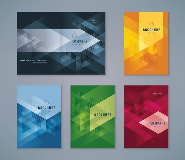 カバーブックデザインセット、三角形の背景テンプレートパンフレット