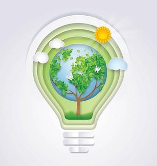 Спасти мир, лампочка с земным деревом