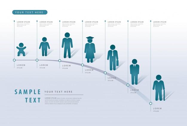 情報グラフィックデザインテンプレート、ビジネスマンデータプロセスチャート、マイルストーンテンプレート