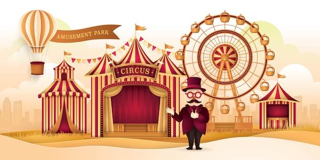 Парк развлечений с колесом обозрения, цирковые шатры, ярмарка карнавальных развлечений